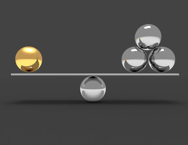 3d-balance-konzept. 3d gerenderte darstellung