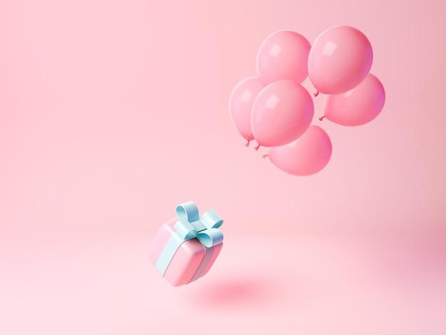 3d-ballons, die geschenkbox anheben