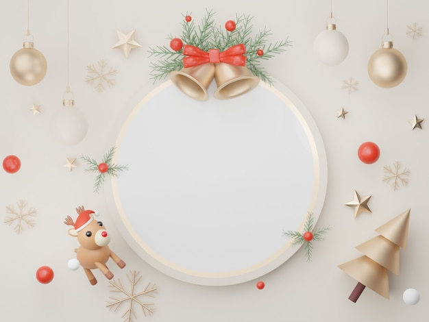 3d-banner-display für produkt- und kosmetikpräsentation mit frohe weihnachten- und neujahrskonzept