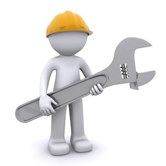 3d bauarbeiter mit verstellbarem schraubenschlüssel