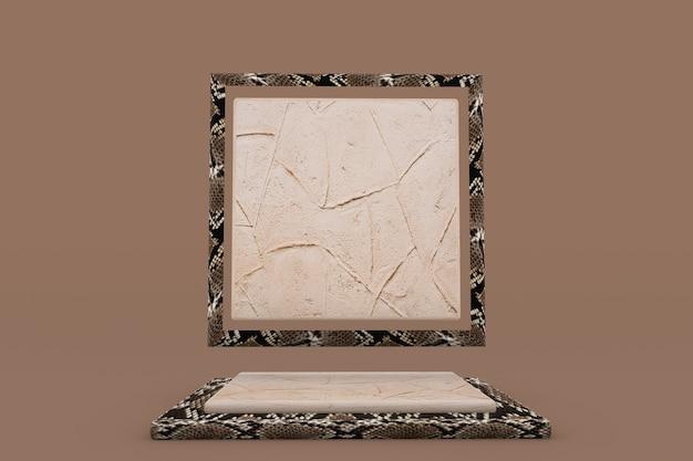 3d-beiges quadratisches podest mit schlangenhaut- oder reptilienmuster braune werbeaktion für kosmetische schönheitsprodukte