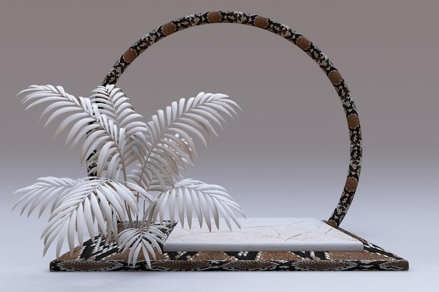 3d-beiges quadratisches podest mit schlangenhaut-reptilienmuster und kreisrahmen sockel mit abstrakter handfläche