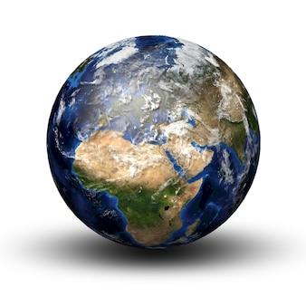 3d-bild des planeten erde mit schatten lokalisiert auf weiß. blick nach europa und afrika.