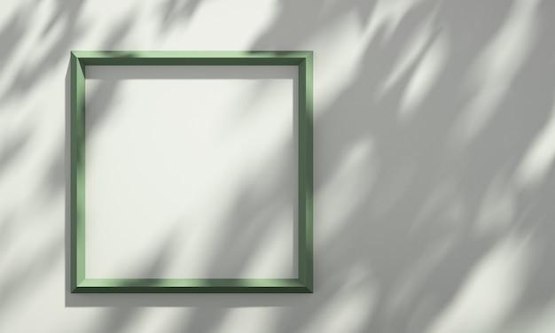 3d-bilderrahmen im regal mit baumschatten auf grüner und orangefarbener wand, sommerprodukt-mockup-hintergrund, 3d-rendering-illustration