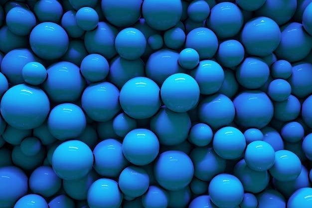 3d blaue blasen kugeln kreativer hintergrund mock-up abstrakte geometrische tapeten