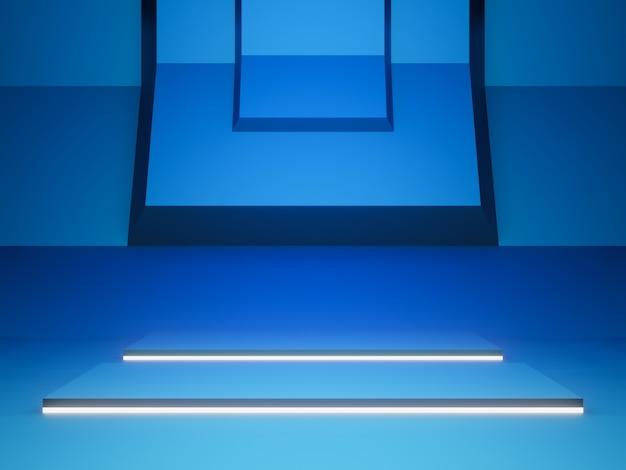 3d blaue futuristische bühne mit weißem licht.