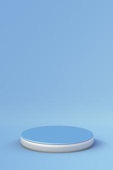 3d blaue podestpodiumstufen für markenwerbungsprodukt kreativer minimaler hintergrund