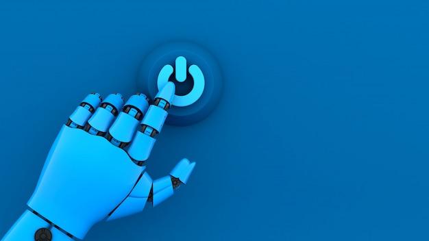 3d blaue roboterhand, die einschaltknopf drückt