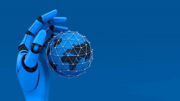 3d blaue roboterhand und globus