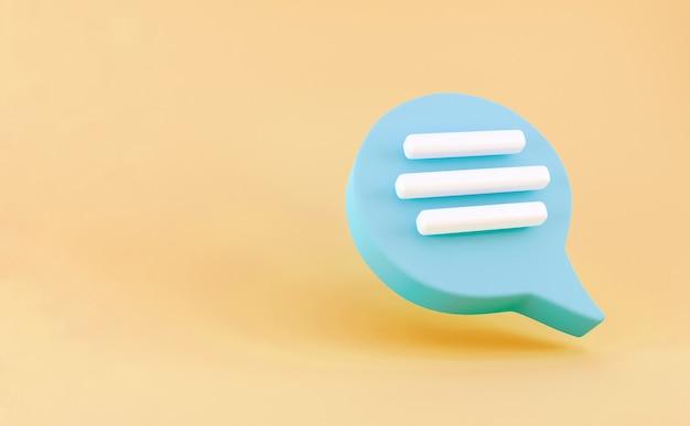 3d-blaue sprechblase-chat-symbol auf gelbem hintergrund isoliert. kreatives konzept der nachricht mit kopienraum für text. kommunikations- oder kommentar-chat-symbol. minimalismus-konzept. 3d-darstellung rendern