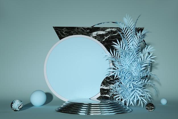3d blauer marmor zylinder podium geometrische form mit abstrakten palmenblättern