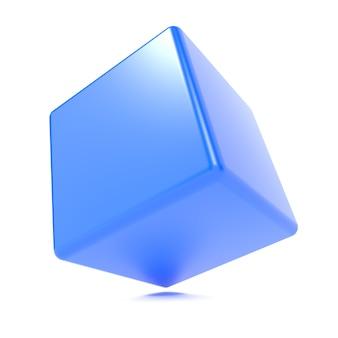 3d blauer würfel lokalisiert auf weißem hintergrund.