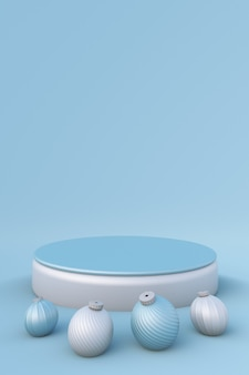 3d blaues podium mit weihnachtskugeln für die werbung minimales festliches standmodell winter neujahr