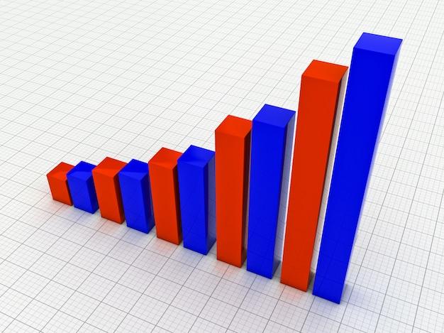 3d blaues und rotes diagramm