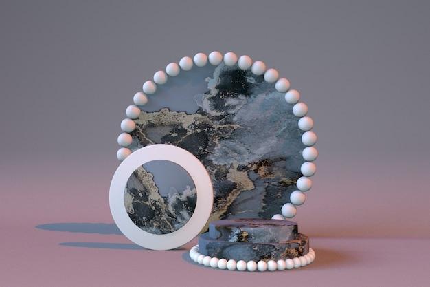 3d blaugrauer marmoreffekt zylinderpodest geometrische form mit rundem rahmen