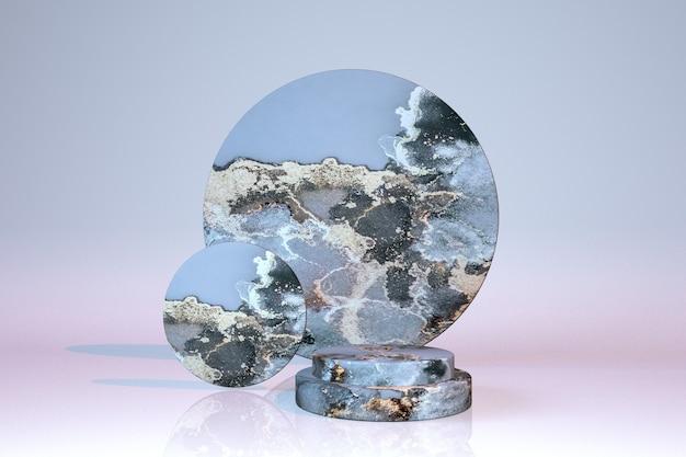 3d blaugrauer marmoreffekt zylinderpodest geometrische form
