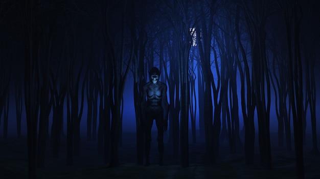 3d böse kreatur im wald in der nacht