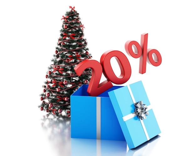 3d-box mit 20 prozent text und weihnachtsbaum