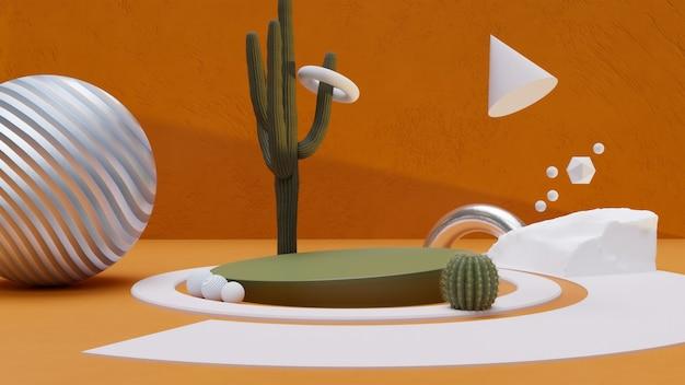 3d braunes und grünes konzept abstraktes produktstanddesign