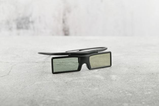 3d-brille. filetley. auf beton. ort zum schreiben hintergrund