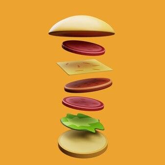 3d-burger mit hintergrund aufgeteilt