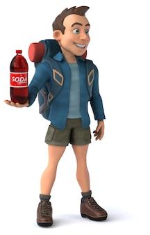 3d cartoon backpacker mann charakter