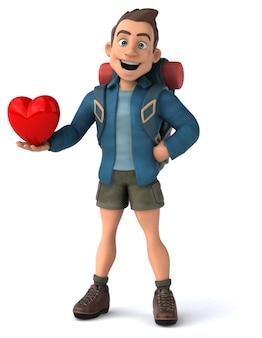 3d-cartoon backpacker-mann-charakter