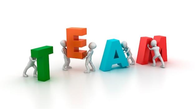 3d cartoon business charaktere mit team word