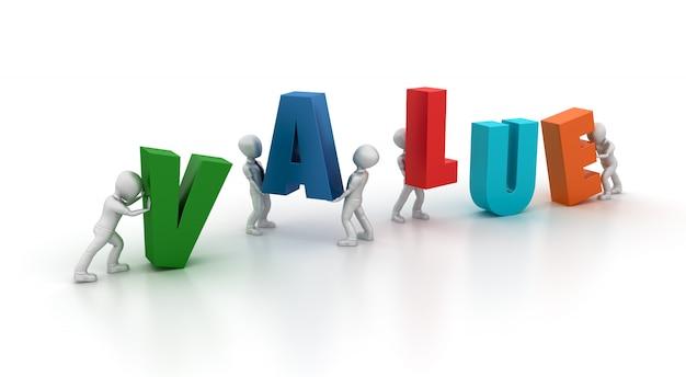 3d cartoon business charaktere und value word