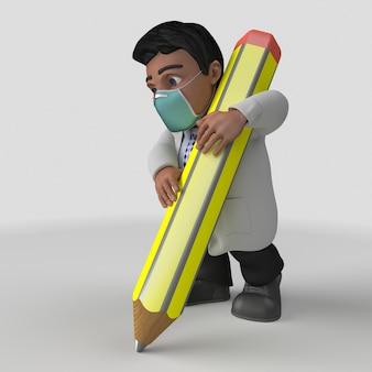 3d cartoon doctor character in der gesichtsmaske