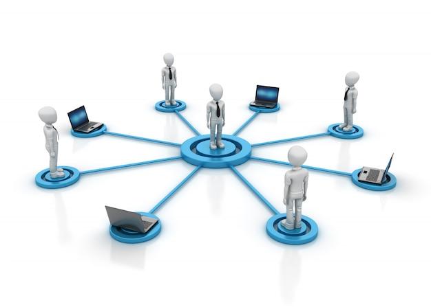 3d cartoon teamwork business charaktere mit laptops