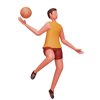 3d-charakter des männlichen basketballspielers in der wurfhaltung über weißem hintergrund.