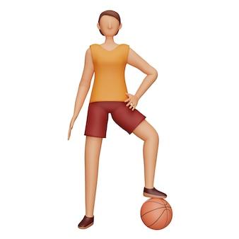 3d-charakter des weiblichen basketball-athleten beim spielen von pose.