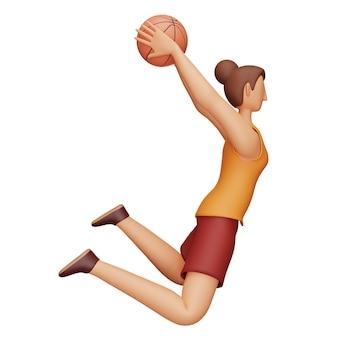 3d-charakter des weiblichen basketballspielers in der werfenden haltung über weißem hintergrund.