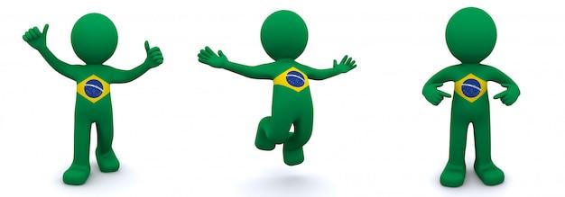 3d charakter mit flagge von brasilien texturiert