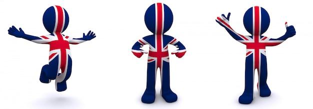 3d charakter mit flagge von großbritannien texturiert