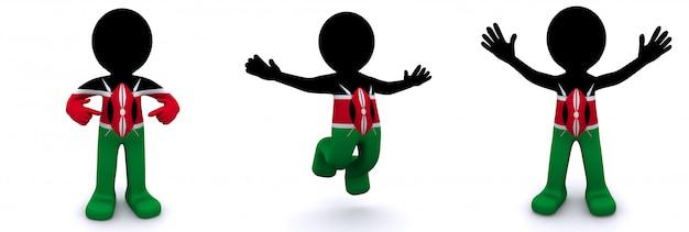 3d charakter mit flagge von kenia texturiert
