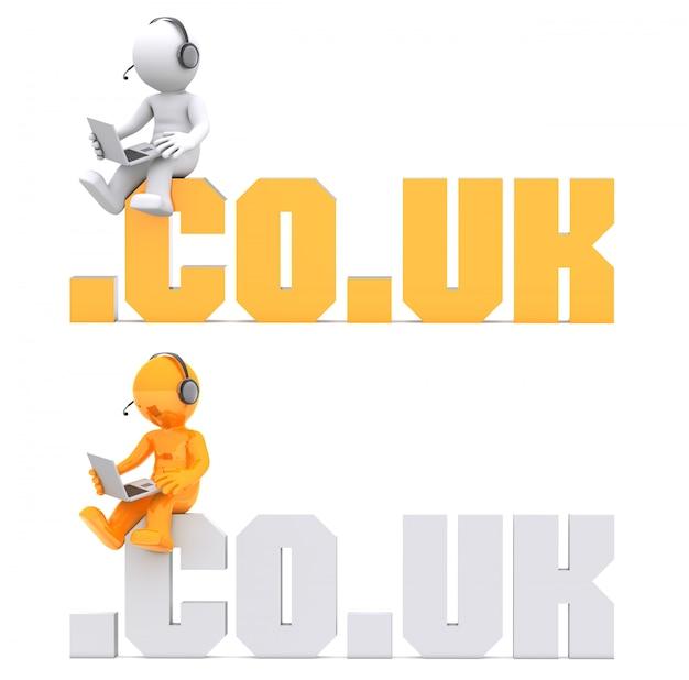 3d charakter sitzt auf .co.uk domain zeichen.