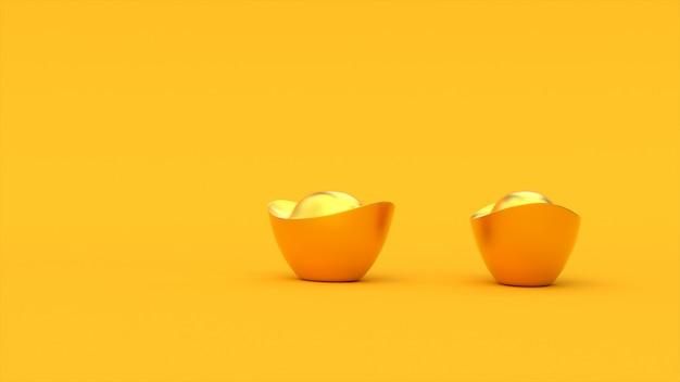 3d chinesische goldene barren. gelber farbhintergrund. frohes chinesisches neujahr. 3d-rendering-abbildung.