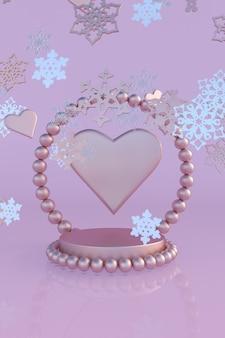 3d christmas new year rosa podium mit herzform und schneeflocken festliches modell winterurlaub