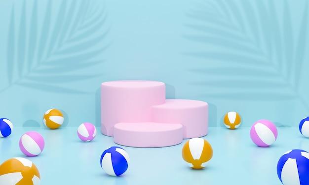 3d circle pink podium es gibt wasserbälle rund um den schatten des kokosblattes im sommerthema