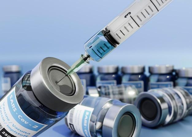 3d coronavirus-impfstoffflaschen und spritze