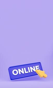 3d-cursor klickt auf die online-schaltfläche. vertikales minimales konzept isoliert. 3d-rendering