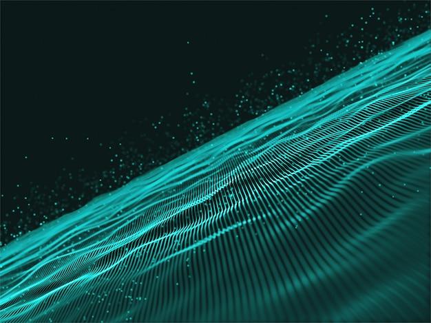 3d cybernet techno design mit fließenden linien und schwebenden partikeln