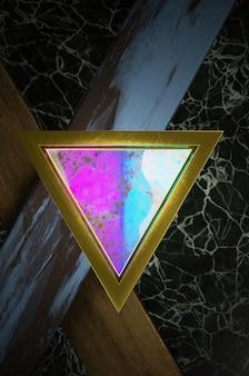 3d-darstellung. abstrakte gold-, regenbogen- und schwarze pfeilrichtung auf schwarzem leerraum für textlogo, moderne futuristische luxusoberfläche des konzepts und broschüre