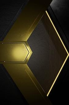 3d-darstellung. abstrakte goldene und schwarze pfeilrichtung auf schwarzem leerraum für textlogo, moderne futuristische luxusoberfläche des konzepts und broschüre
