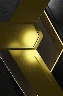 3d-darstellung. abstrakte goldene und schwarze pfeilrichtung auf schwarzem leerraum für textlogo, moderne futuristische luxusoberfläche des konzepts und broschüre Premium Fotos