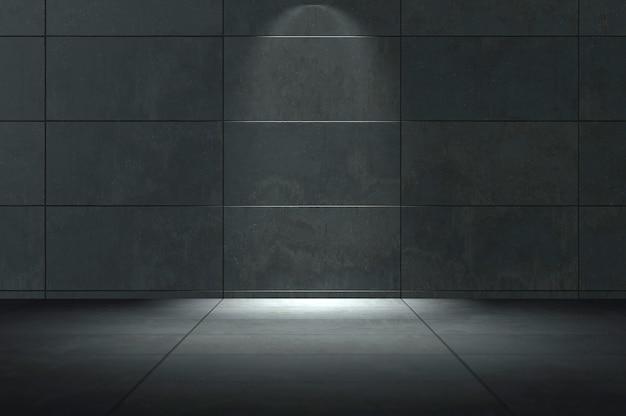 3d-darstellung. abstrakter industrieller innenraum mit verrosteter stahlwand und betonboden