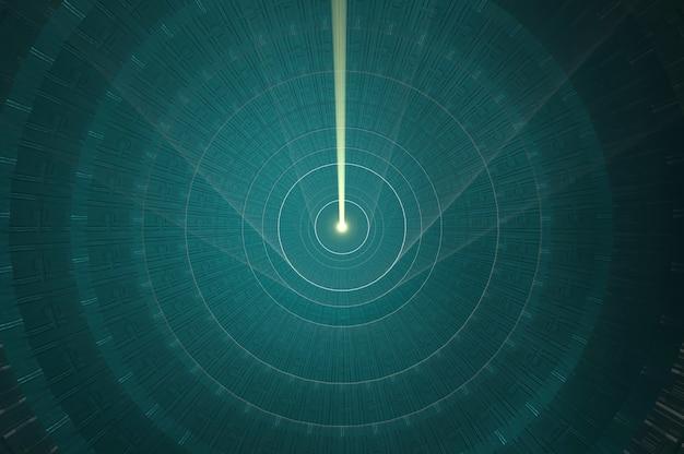3d-darstellung. ansicht von oben. elegantes futuristisches licht und reflexion mit metallgitterlinienhintergrund. kopie für platz