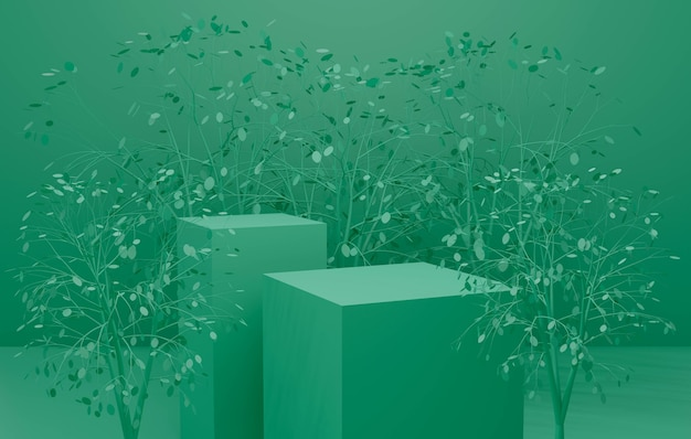 3d-darstellung auf grünem hintergrund der podiumsbühne mit pflanzenblatt.